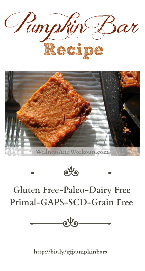 Gluten free, grain free, dairy free Pumpkin Bar Recipe. Paleo, Primal, GAPS, SCD legal. Delicious!
