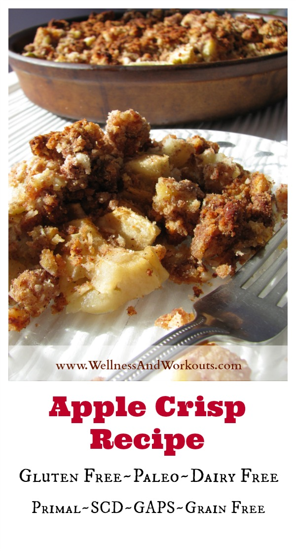 This paleo apple crisp recipe is an amazing dessert! It has a grain-free, coconut flour/cinnamon crumble topping. It's a simple, gluten free treat perfect for Thanksgiving, or any time of year!