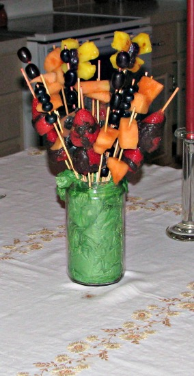 Our older girls made this fruit kabob arrangement for our anniversary. My favorites were the strawberries dipped in home-made, honey sweetened chocolate.