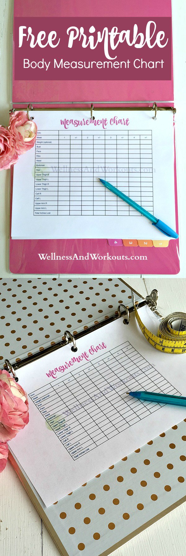 This free, blank, printable body measurement chart is to help you get--and stay motivated when on a regular exercise routine. Great with T-Tapp workouts, measuring inches is better than weight loss.