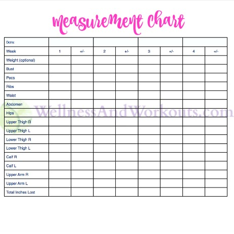 image about Printable Measurement called Absolutely free Printable Human body Dimension Chart Physique Dimension Tracker