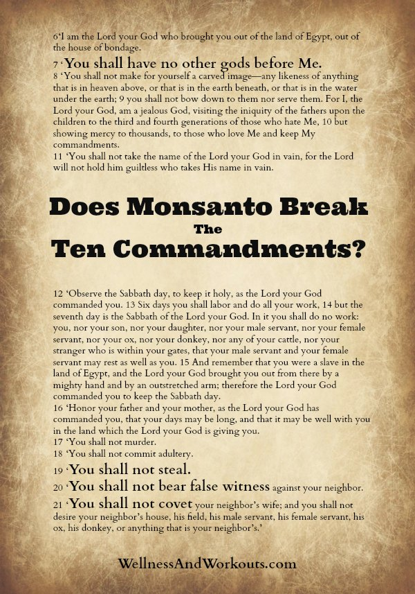 Millions Against Monsanto and the ten commandments